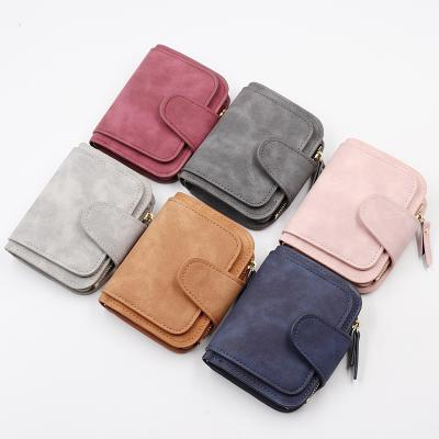New womens wallet short Korean three fold zero wallet fashion zipper buckle card bag two color fabric