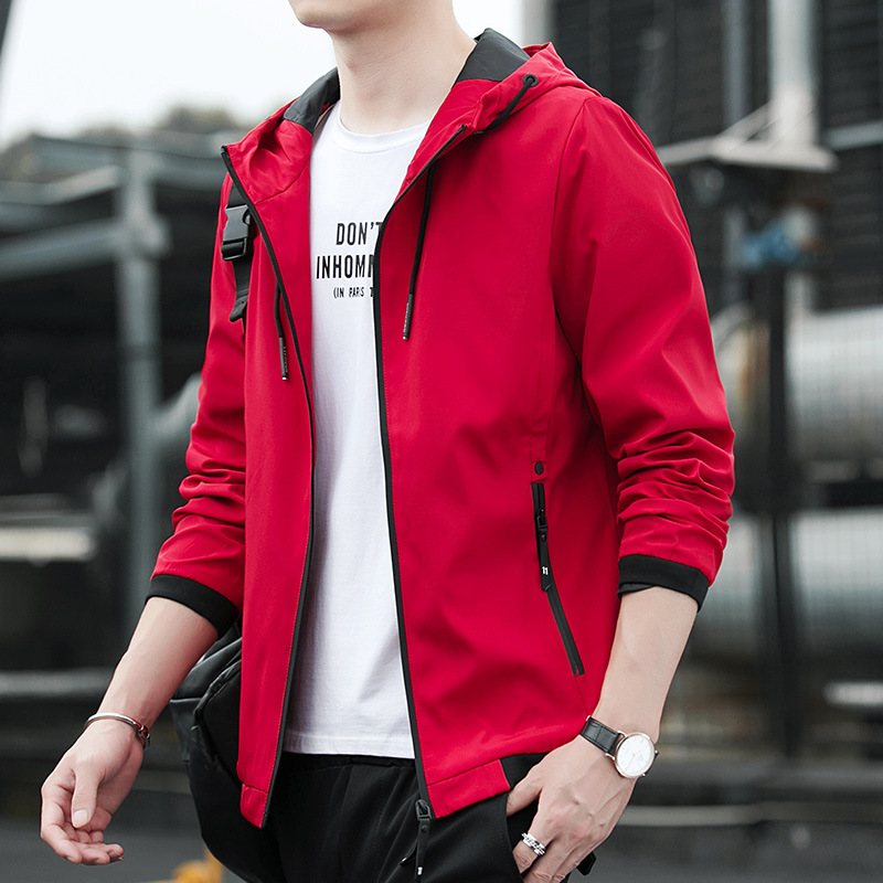 High grade mens autumn clothes young mens red jacket mens red sports Chinese red jacket