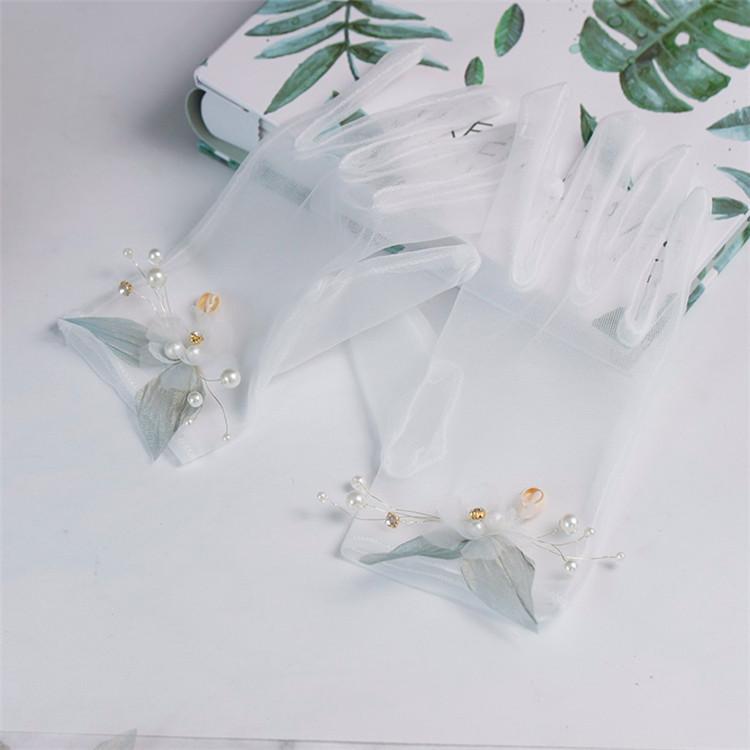 韩式新娘手套森系超仙结婚短款网纱手工花朵有指婚礼手套结婚配饰
