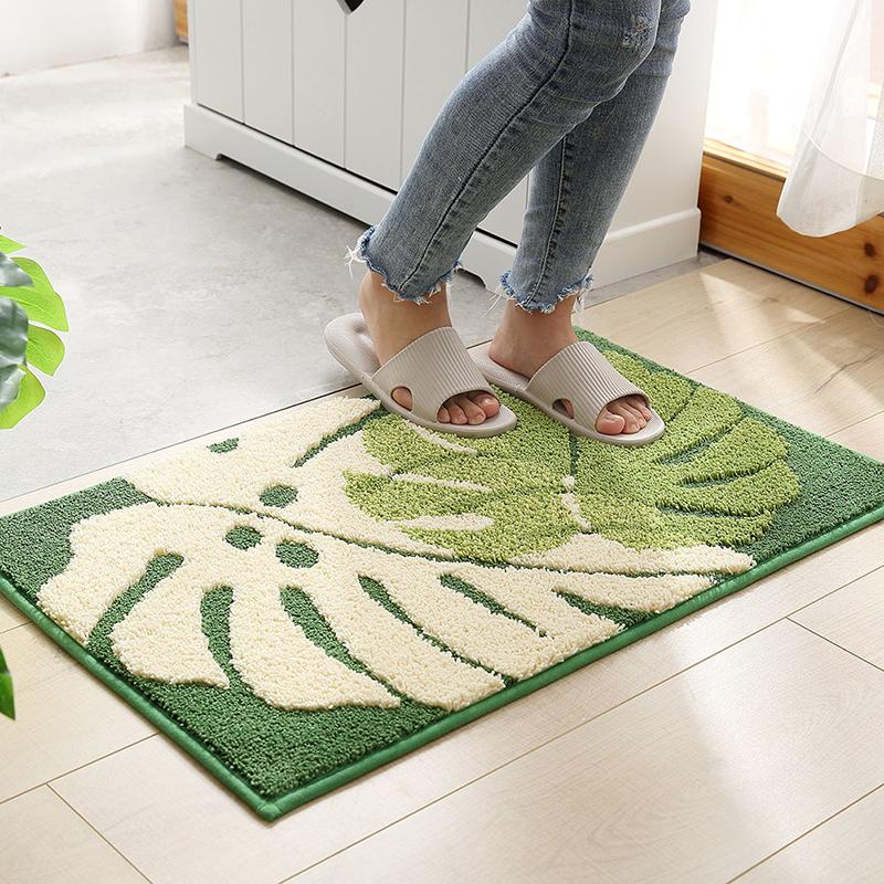 高档现代地垫树叶植物提t花房室吸水厨浴滑门口防进脚垫卧室奢华