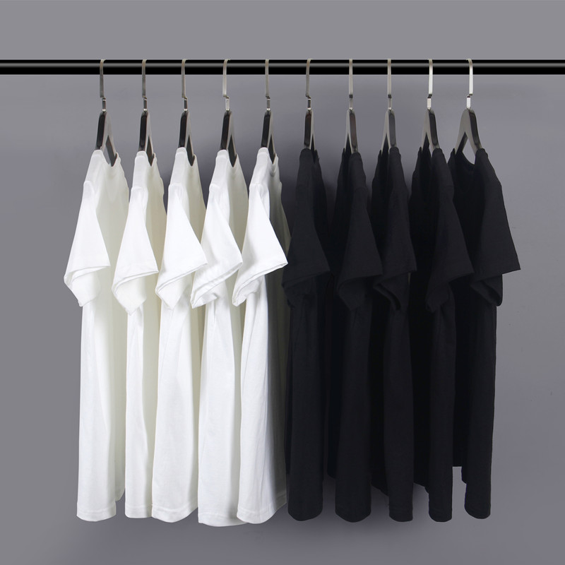 200g American heavyweight cotton round neck bottomed T-shirt white short sleeve t-shirt mens and womens loose solid color bottomed T-shirt