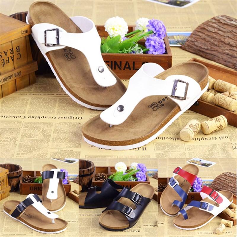 High grade mens summer fashion word slipper sandals mens Cork beach f Korean version foot clamping couple sandals womens summer luxury