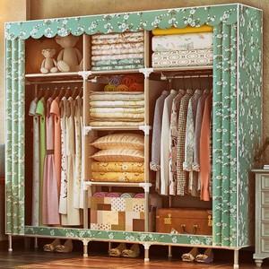上新住宅家具柜类简易大容量不锈钢双人布衣橱大号非实木单人衣柜