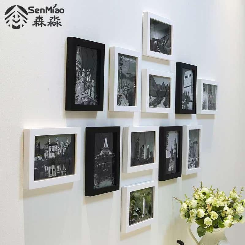 森淼简约黑白实木照片墙客厅卧室装饰相片墙挂墙相框组合