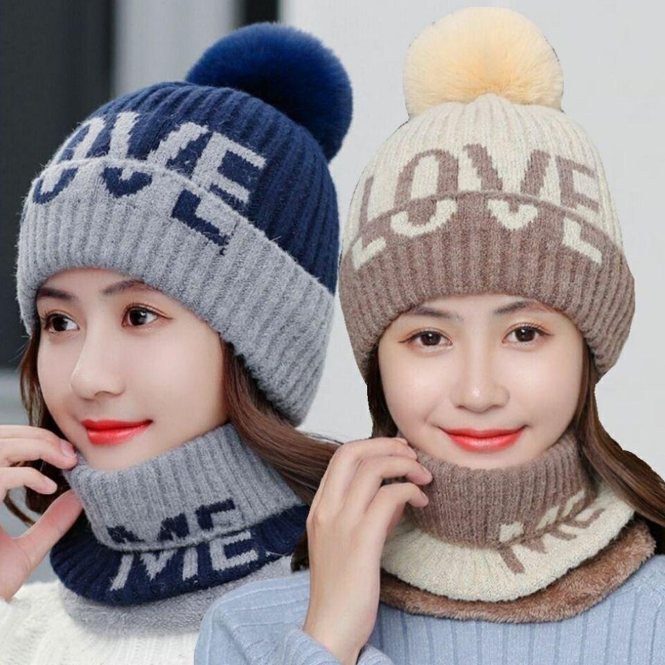 タオバオ仕入れ代行-ibuy99|帽子|帽子围巾手套三件套女冬天一体秋冬百搭保暖两件套装加绒冬季毛线