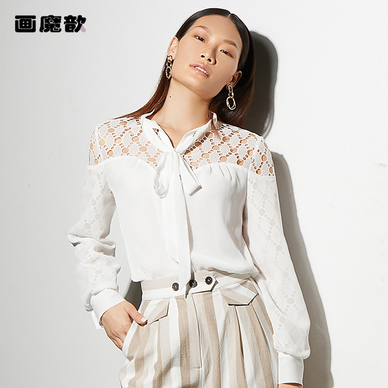 Huamoxin 2021 summer Round Neck Lace Up bowknot fashion versatile cut out Lace Long Sleeve White Shirt Blouse