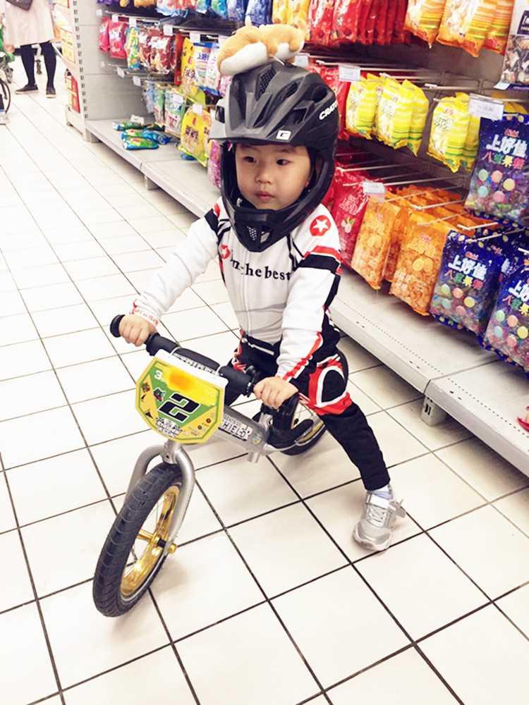 定制春秋长袖骑行运动服套装自行车卡丁车儿童平衡车表演服轮滑服
