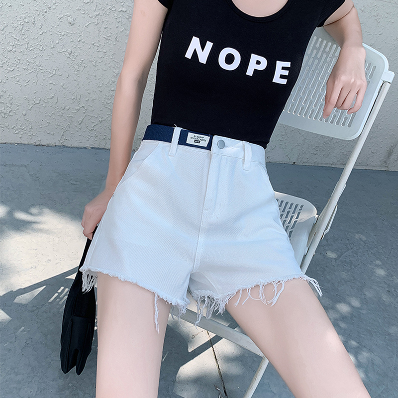 Yin wenshinas white denim shorts with high waist and belly closed show thin and high height in summer