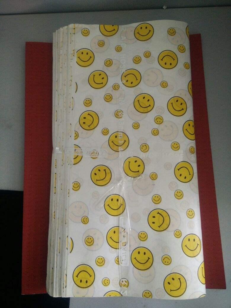 笑脸纸点心包装袋托盘汉堡鸡肉卷防油纸144张包装四份起多省包邮