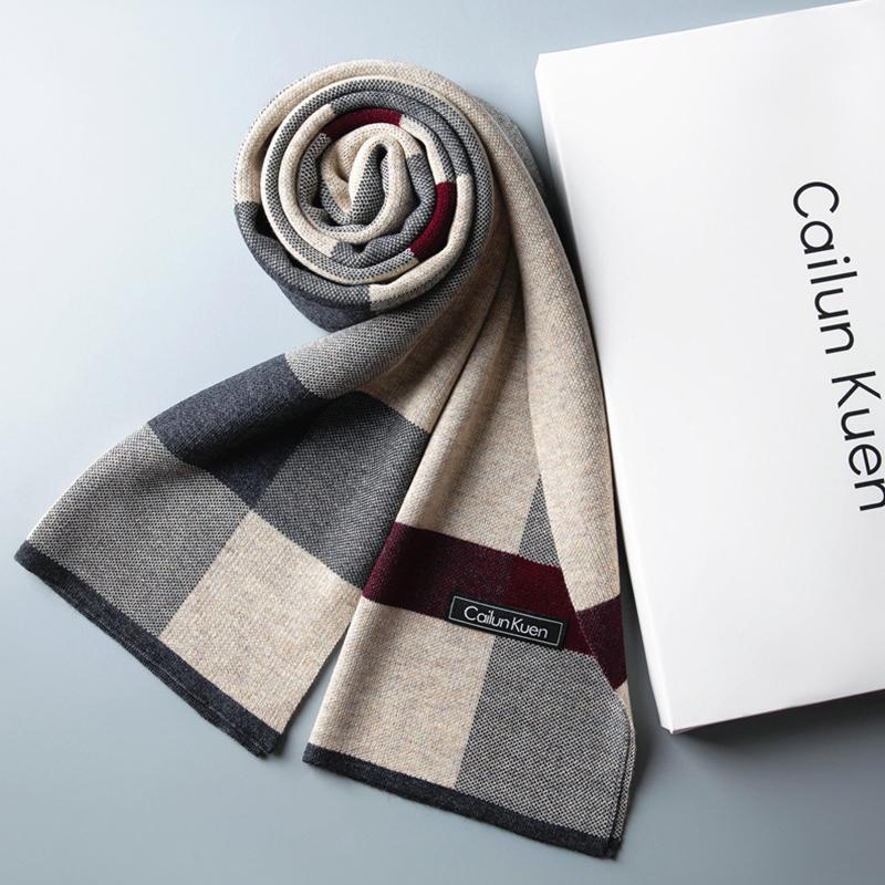 围巾男士保暖围脖含羊毛男冬季高档韩版百搭潮礼盒生日礼物