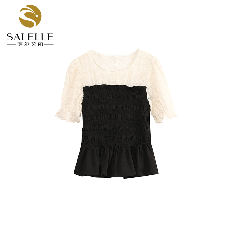2021 summer fake two piece stitching elastic chest pleated thin top female qz9993