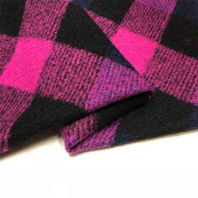 French yarn dyed Plaid fluffy three-dimensional jacquard knitted wool garment fabric coat imported autumn and winter fabric