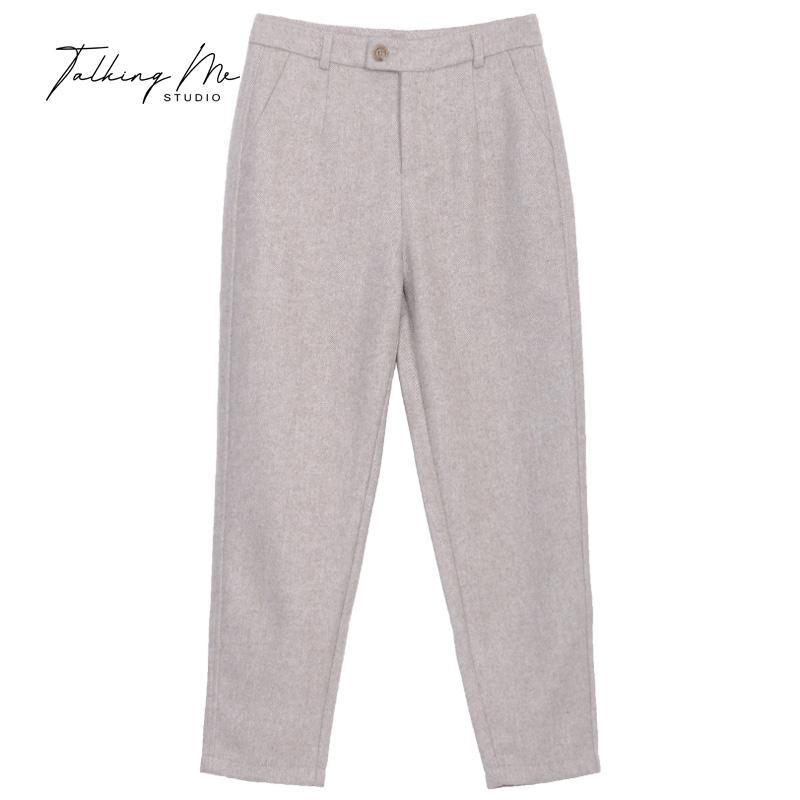 拓可米2020秋冬新款奶奶裤女低腰休闲长裤羊毛小脚裤保暖