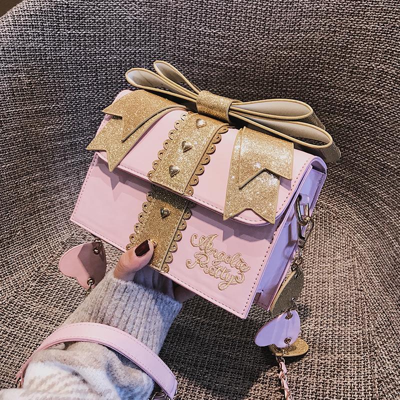 。可爱小包包萌少女2018新款日系洛丽塔lolita爱心蝴蝶结斜跨单肩