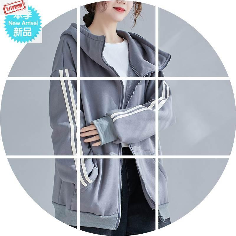 Large size womens clothing fat mm winter clothing plush thickened high collar hooded sweater womens leisure sports zipper cardigan jacket fashion