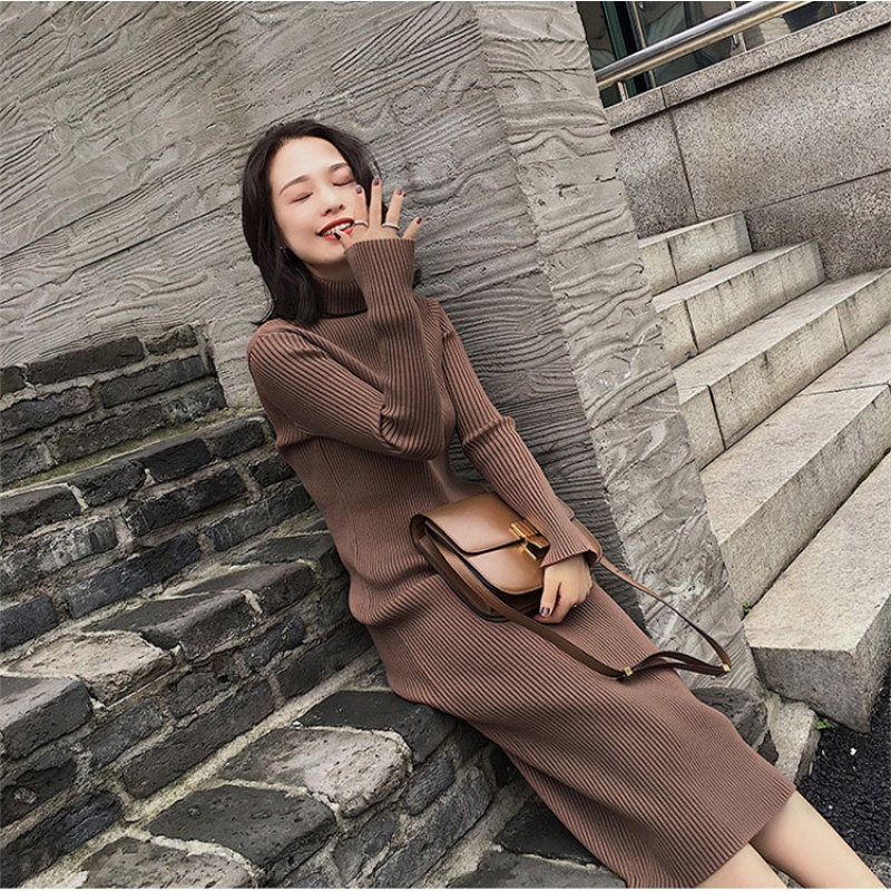 [brand clearance] autumn and winter high collar medium length sweater dress womens knee length one-piece slim knit