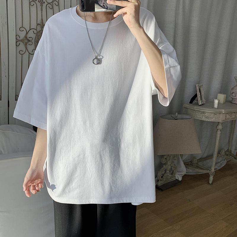纯棉夏季纯色宽松潮流短袖T恤韩版男生五分袖情侣百搭打底衫
