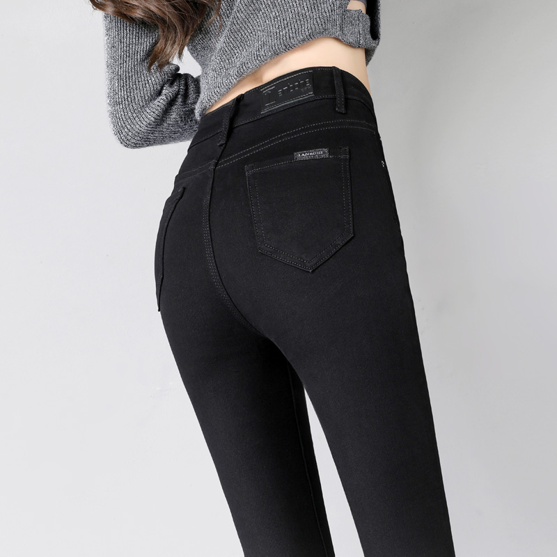黑色牛仔裤女九分裤春秋2021年新款高腰加绒紧身显瘦弹力小脚外穿
