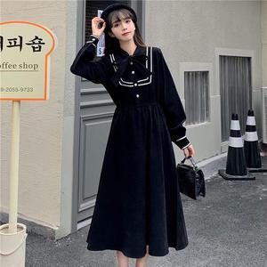 春秋新款法式复古收腰减龄连衣裙