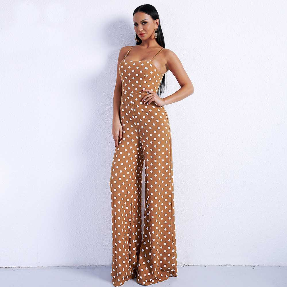 Sexy one piece suspender off shoulder pants T-shirt smart pants with one-piece female one-piece strap and round neck