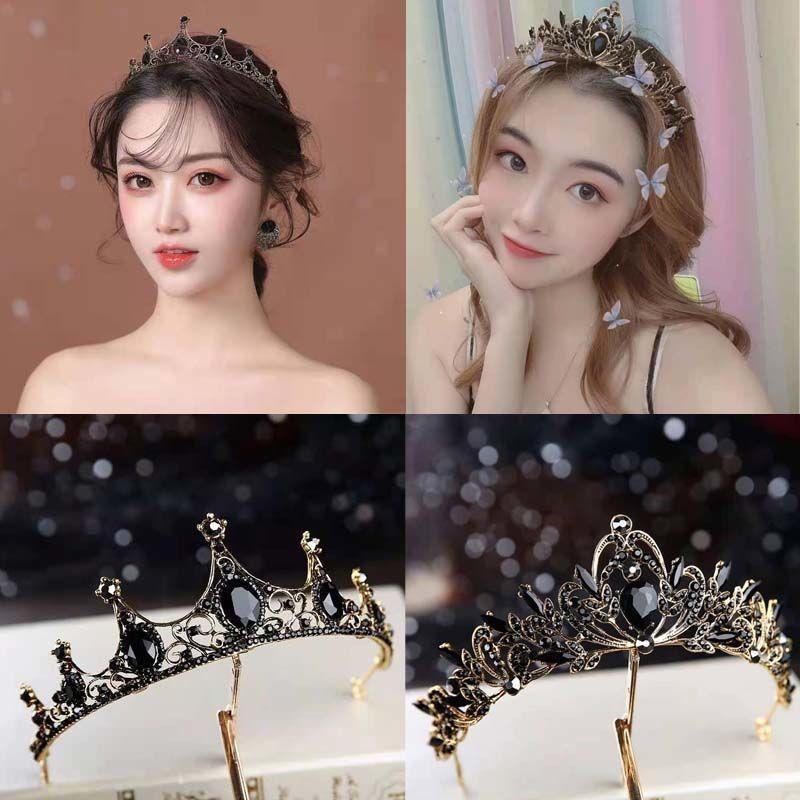 Crown headdress Korean 18-year-old adult gift Princess best friend birthday gift vintage black crown bride hair jewelry