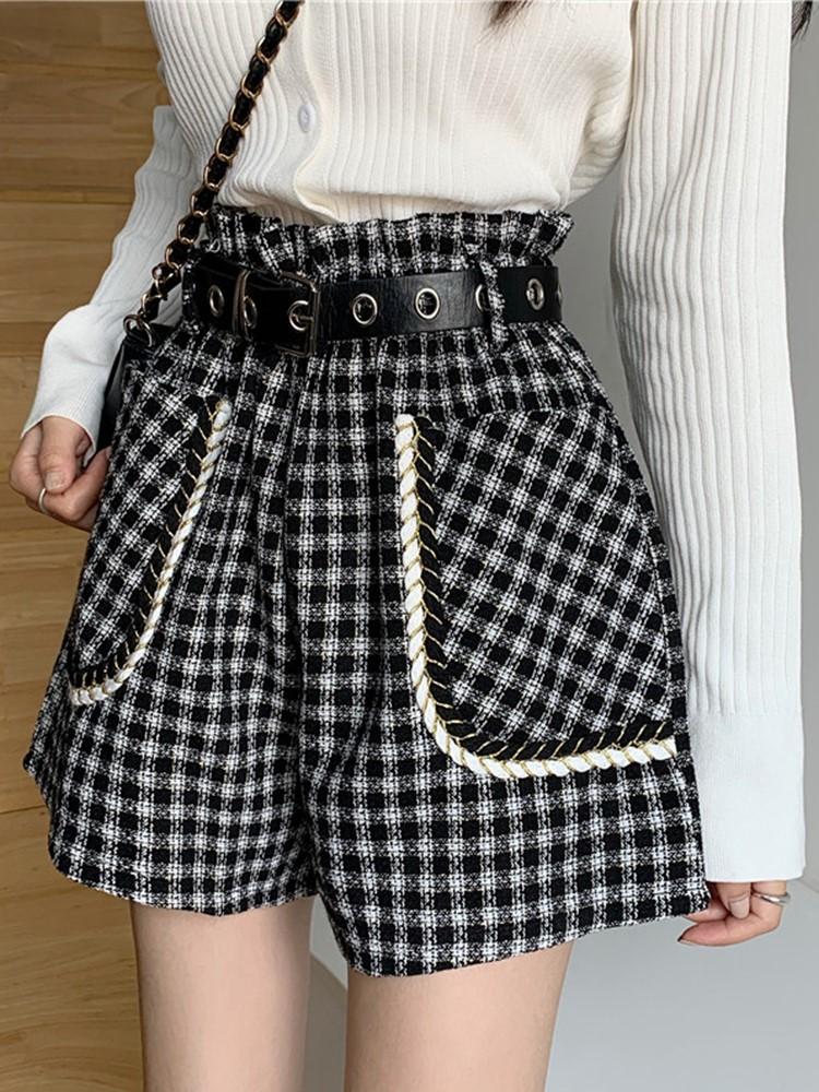 今年流行的裤子复古呢子花苞短裤女春装新款黑色格子高腰阔腿裤