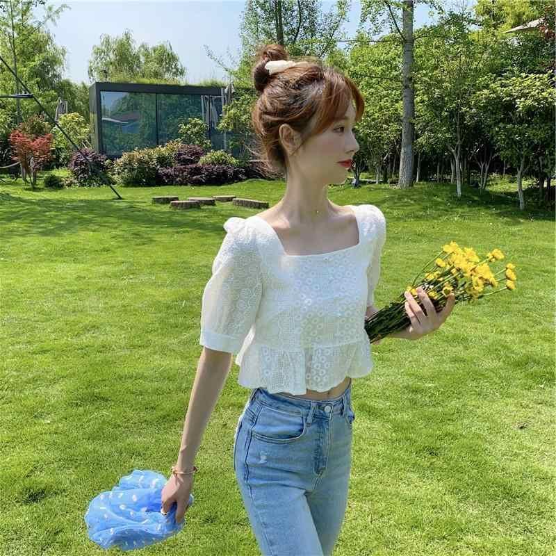 短款泡泡高腰领女法式方蕾丝边夏季荷叶短袖新款上衣脐复古露衬衫