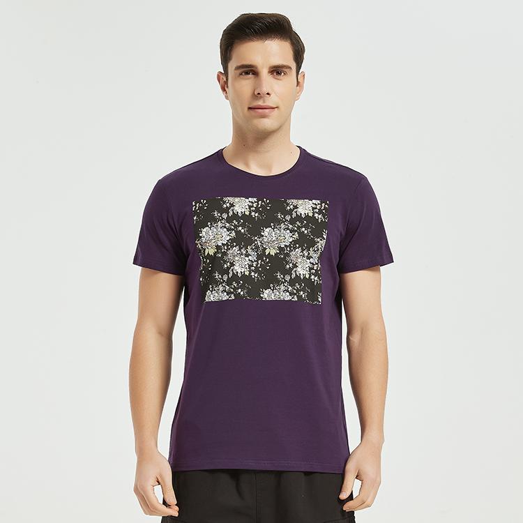北欧洲站男装2021欧货潮流夏装新款莱卡棉短袖t恤修身创意特色503