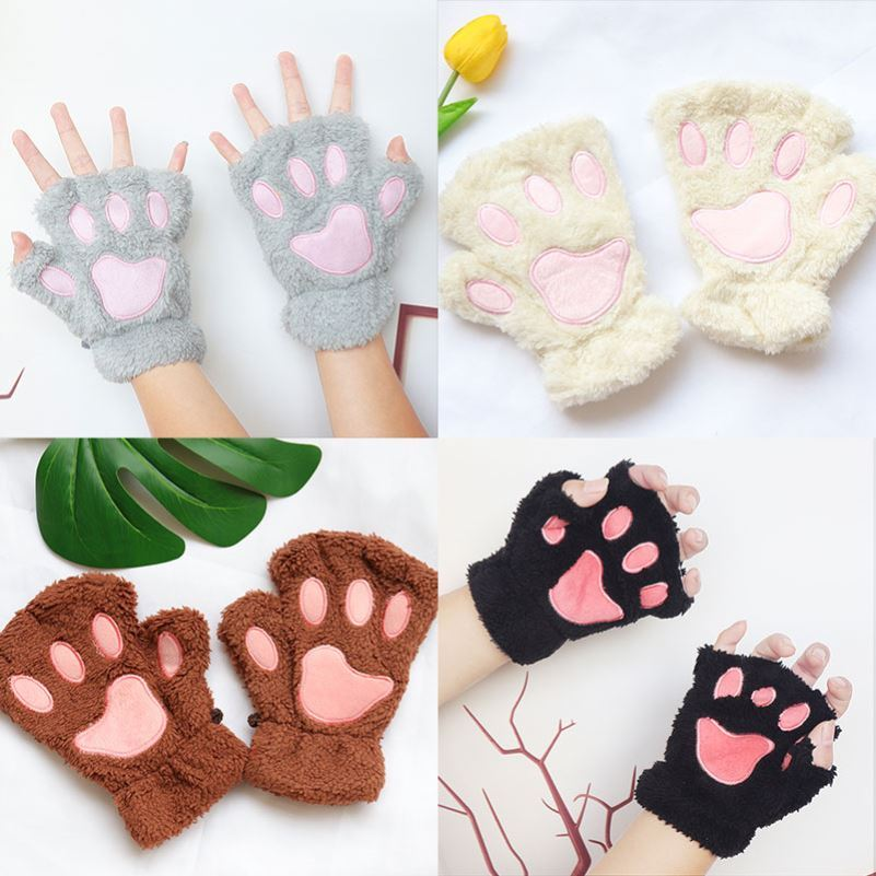 Lovely autumn and winter plus thick Plush Soft gloves ins finger sister winter half version student Han warm female cat claw Plush plus