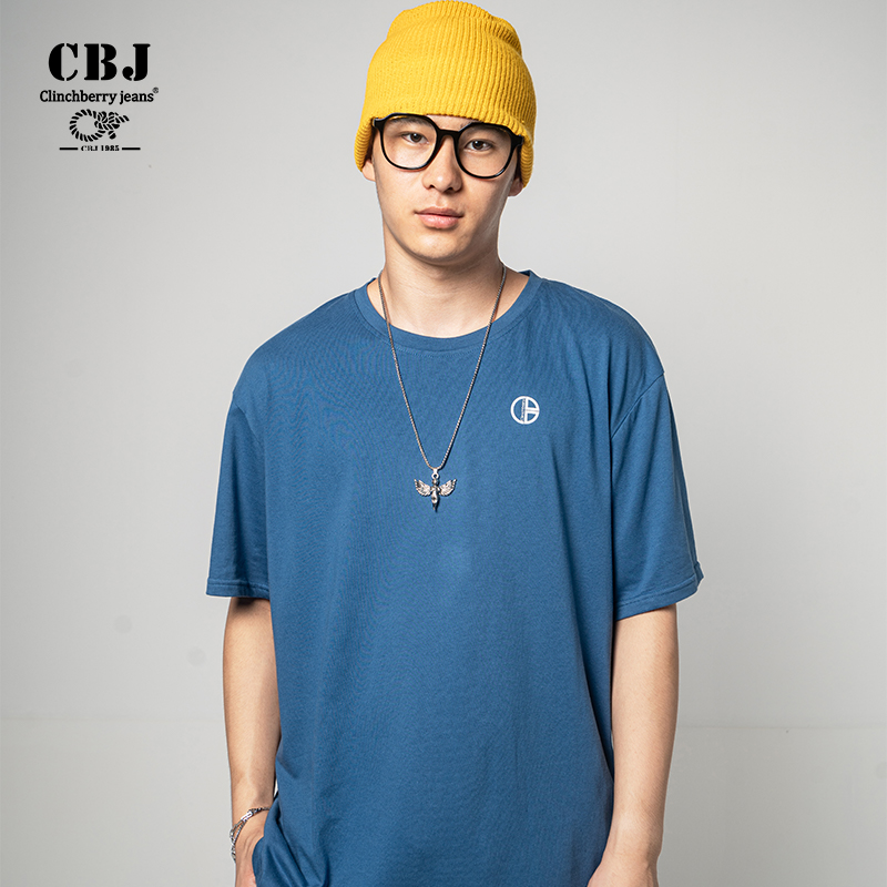 Clinchberry jeans summer 2021 new mens T-shirt loose short sleeve cotton solid round neck fashion