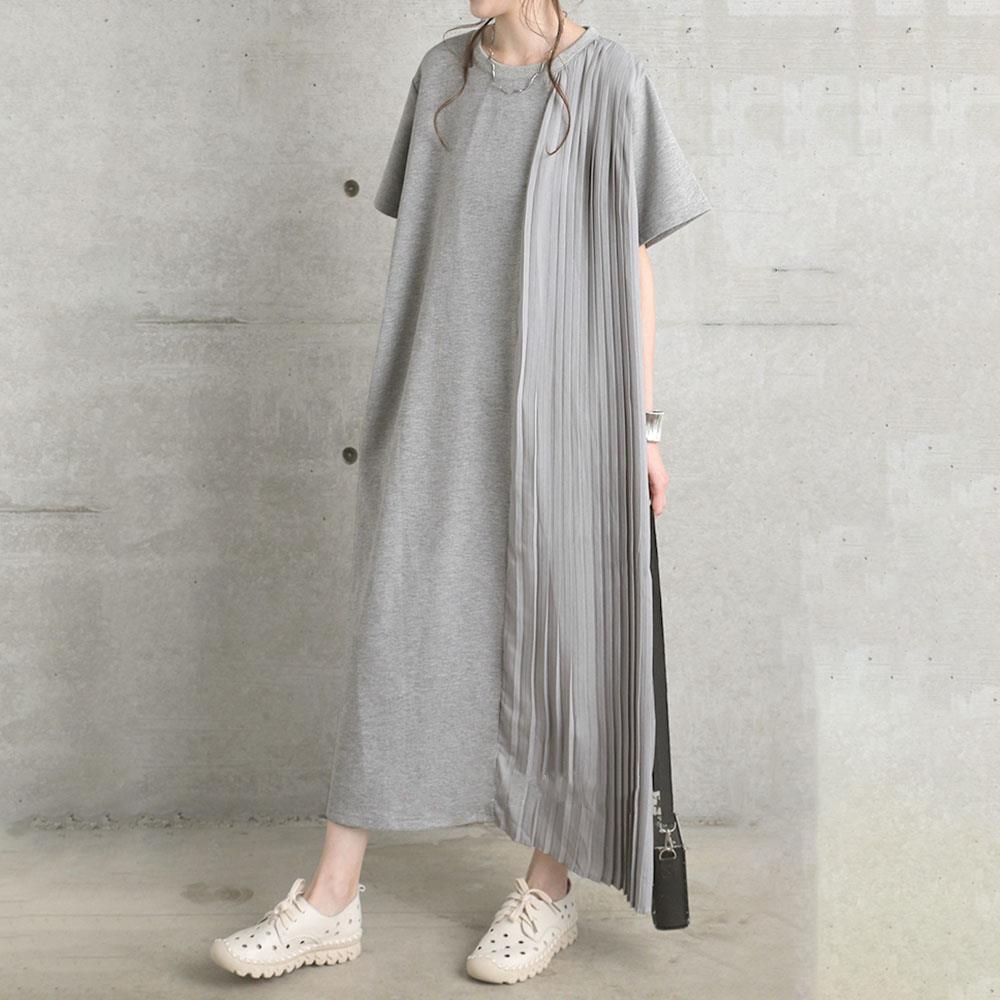 2021 summer loose large irregular knee Chiffon stitched T-shirt dress and ankle super long womens dress