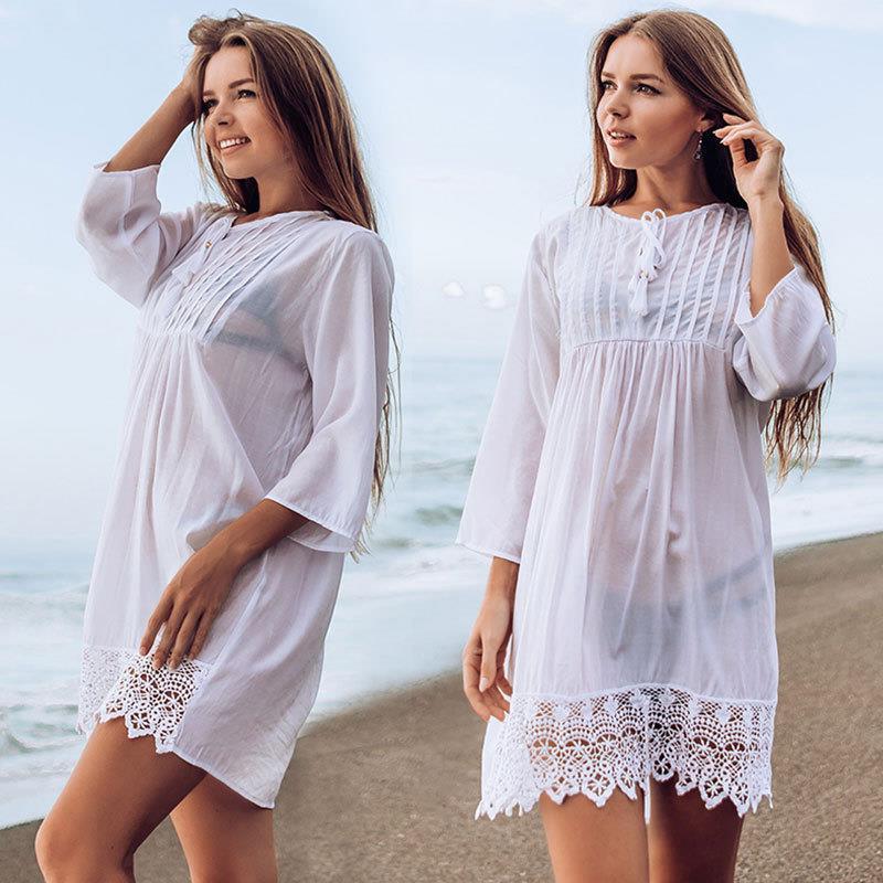 フェニックス-慕のしわのレースの海岸の休日の短いスカートの日よけビーチジャケットの水着のブラウスの女性は欧米にまたがります。