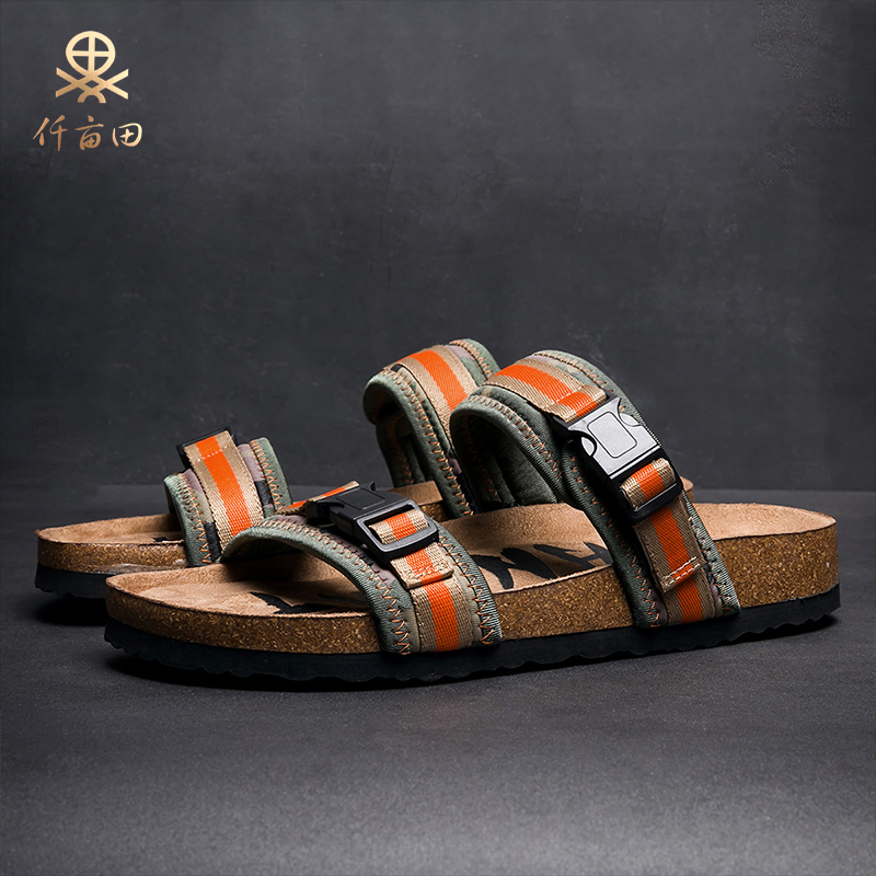 Xinjiang cotton summer new sandals mens trend open toe non slip leather cork sandals student casual slippers