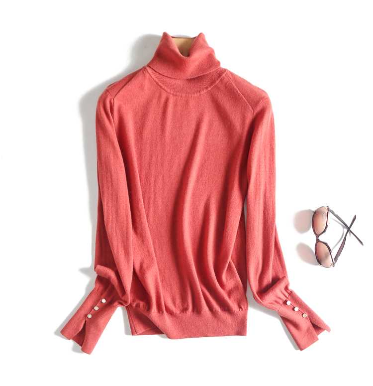 Autumn and winter simple basic ultra fine Merino wool split cuff high collar solid color knitting bottoming sweater for women