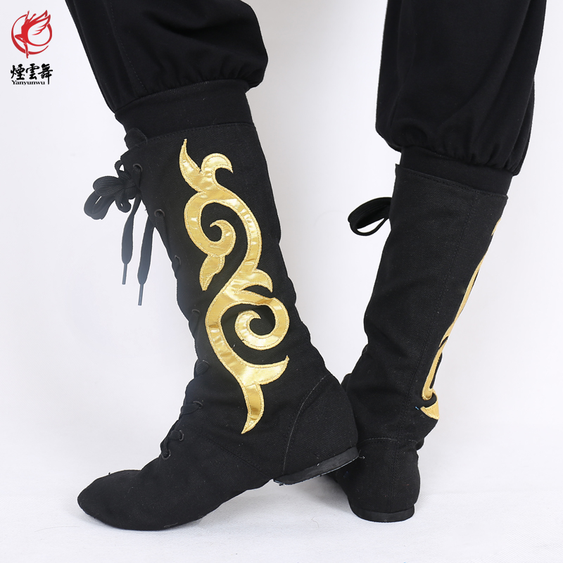 Yanyun dance canvas cowhide Mongolian Tibetan Dance soft soled shoes boots mens and womens plays leather boots Horse Boots