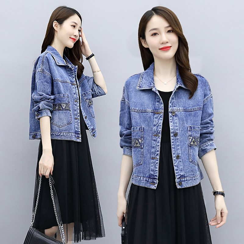 Denim Jacket Womens loose Korean version 2020 spring and autumn short jacket net red chic versatile top Sequin small man