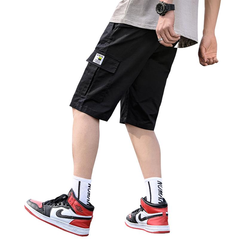 2021夏季新款休闲短裤工装五分裤沙滩裤青年纯棉军绿色跨境