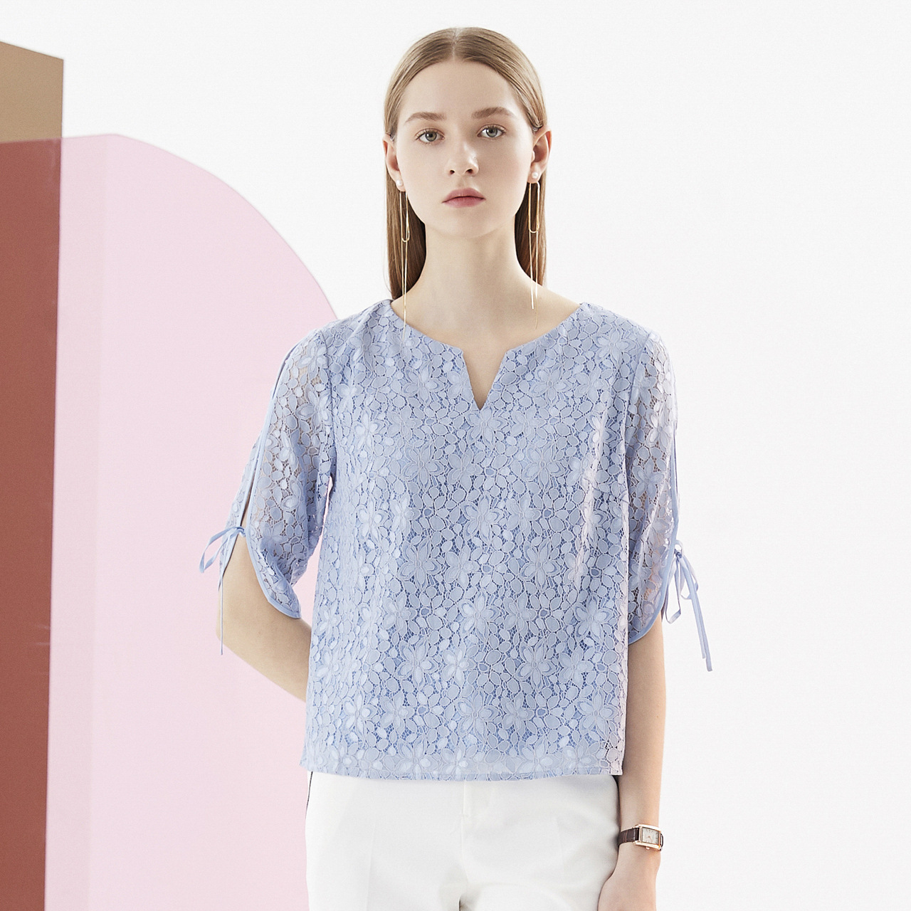 Cardidale autumn new lace print V leader elegant versatile blouse