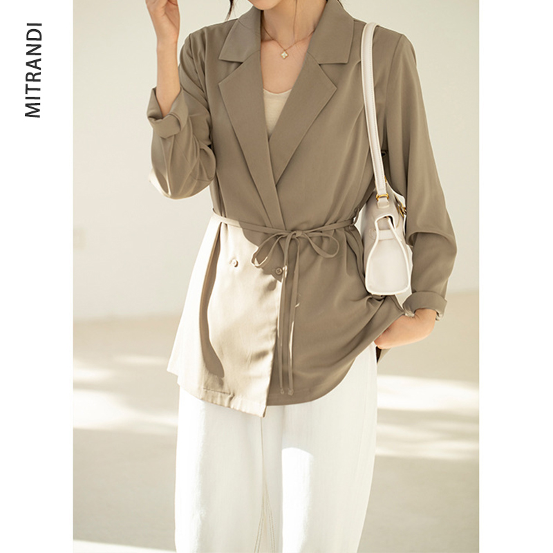 Mitran Di Blazer 2021 spring new loose, light and sagging coat womens Japanese style lapel