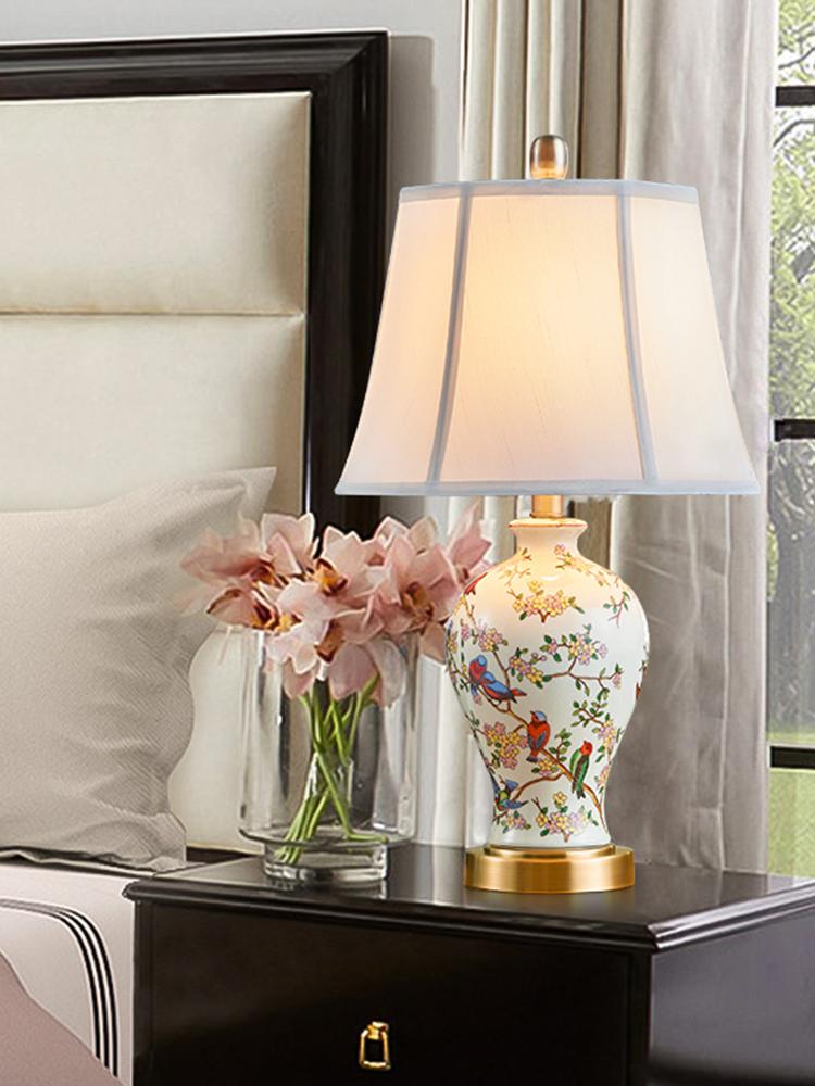 正品美式台灯卧室床头灯陶瓷彩绘田园花鸟温馨书房客厅欧式简约创