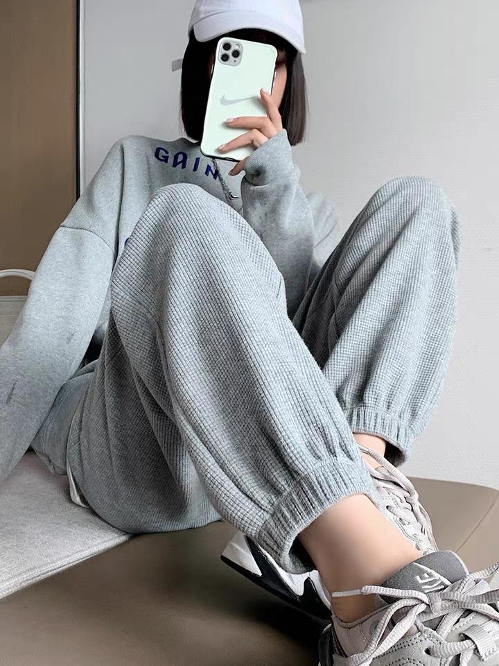 一笑小姐华夫格运动裤女秋季新款宽松束脚卫裤