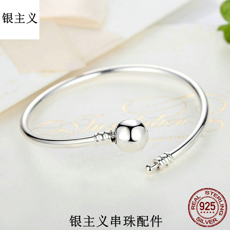 New silverism European and American popular Beaded smooth Bracelet s925925 Bracelet creative personality