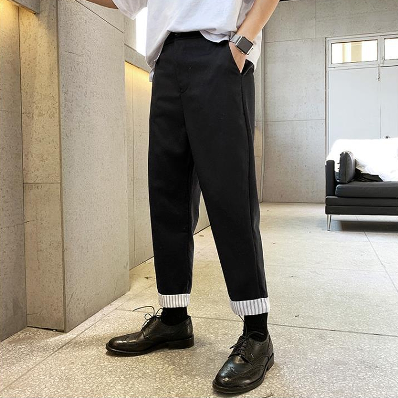 A Cha and a Gu white stripe simple Korean style black literature and art RETRO tapered trousers casual pants