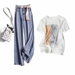 印花T恤+高腰牛仔阔腿裤两件套装
