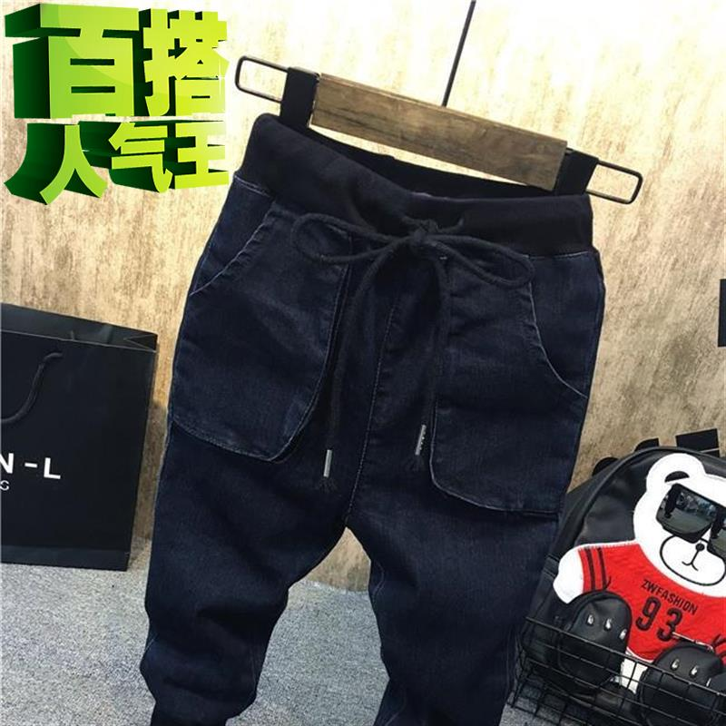 Childrens warm feet black childrens Corset a pants personality boys and girls jeans childrens pants childrens wear