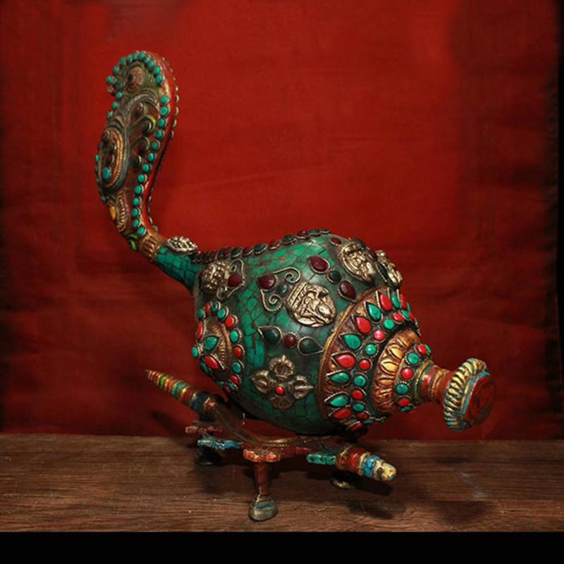 尼泊尔工艺纯铜镶嵌宝石彩绘法螺 法号藏式法器镇宅辟邪家居装。 Изображение 1