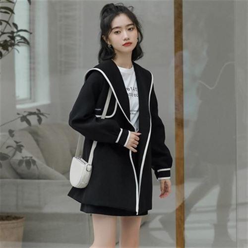 Japanese wind soft wind small suit coat womens autumn winter British warm Korea h version big Lapel long middle tie windbreaker wide