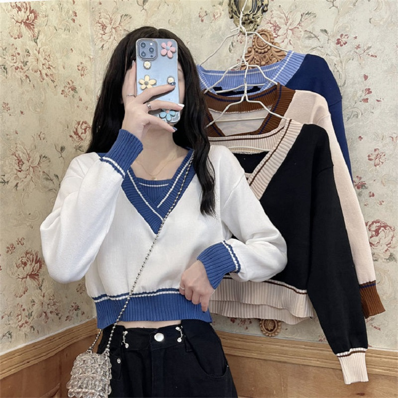 假两件短款针织衫女装春秋季2021新款长袖毛衣设计感小众V领上衣