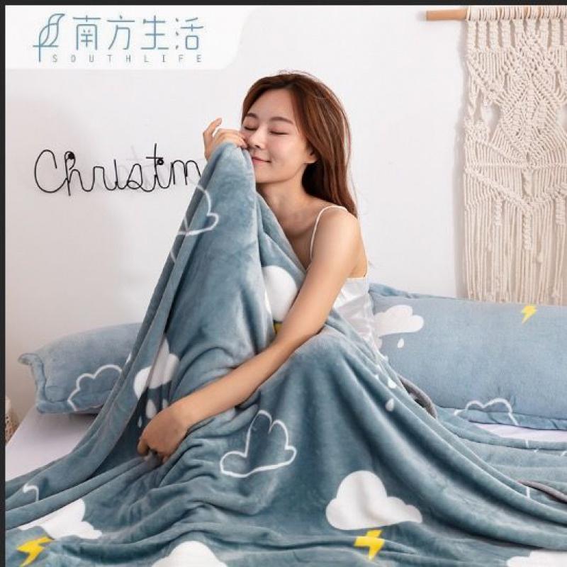 南方生活珊瑚绒毯子法兰绒毛毯盖毯加厚学生单人床单空调毛巾冬季