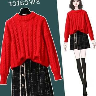 新款红色圣诞加厚打底毛衣2020年慵懒风套头圆领针织衫女冬季内搭图片